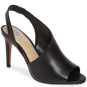 Vince Camuto Crasantha Sandal Black Leather 10